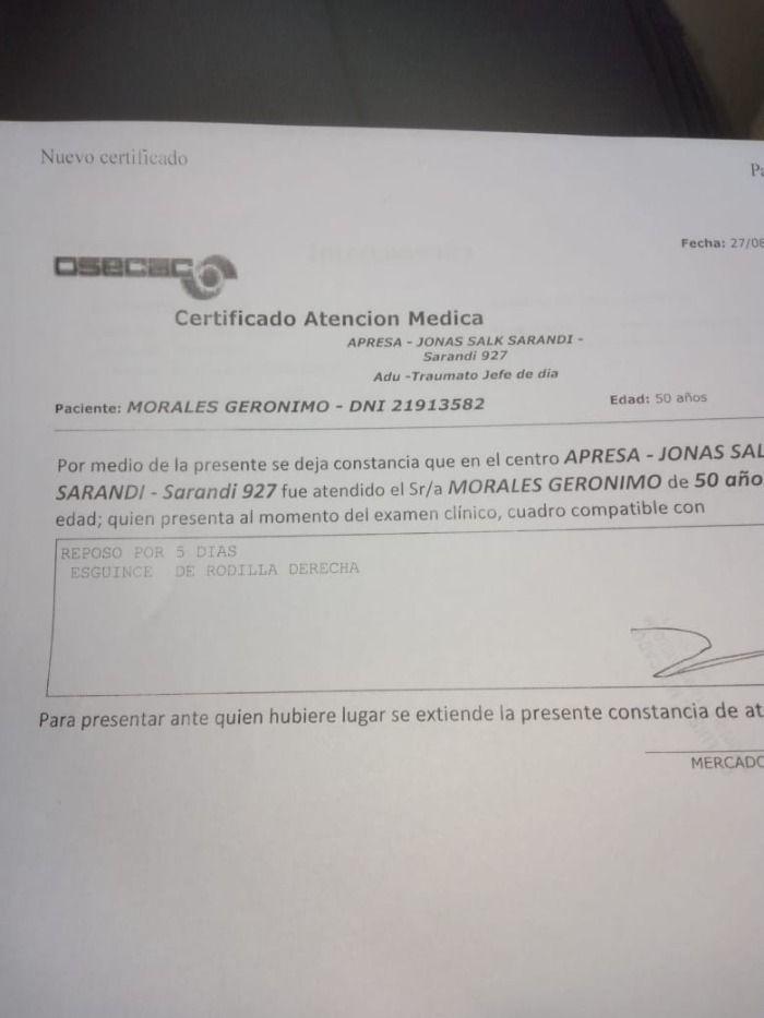 Parte medico: Jerónimo Morales fuera por 12 semanas