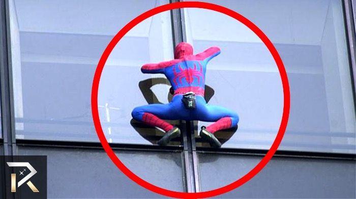 Spider-Man caught on live camera